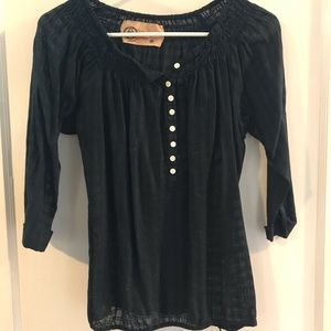 Navy GAP peasant top